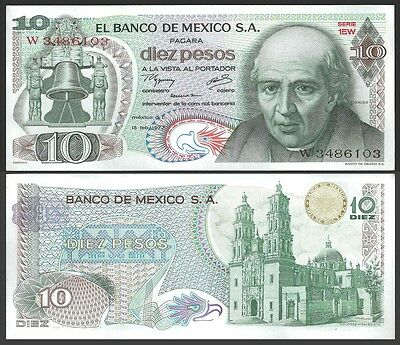 Mexico 10 Pesos 1977 Sign.3 Olive seal P 63i UNC OFFER !