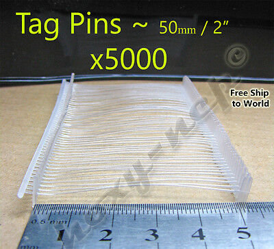 "Tagging Barbs 5000 pins 2"" / 50mm for Tag Gun White Clothing Garment Price Label"