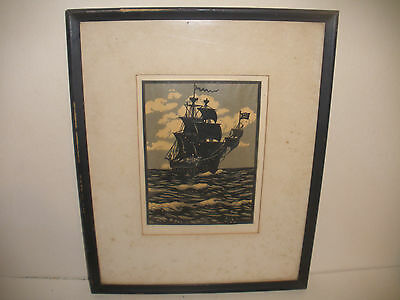 Antique 19THc American Folk Art Cut Paper Silhouettes ship at the sea seascape