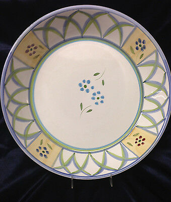 Caleca Greca Pasta Serving Bowl Blue Green Lattice Arches Red Flowers #336 Italy