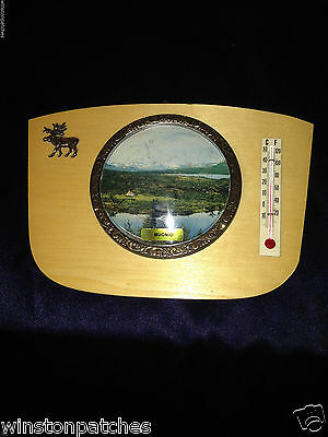 Muonio Finland Vintage Souvenir Thermometer Domed Round Picture Postcard Mounted