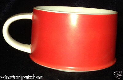 Contempo Frost Red & White Footed Cup 8 Oz Red Exterior White Interior & Handle