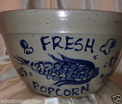 "Rowe Pottery Works 1992 Fresh Popcorn Round Bowl 8 7/8"" Salt Glaze Cobalt Blue"