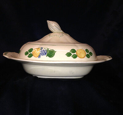 Adams China England 1346B Covered Vegetable Bowl Fruit & Berries Titian Ware