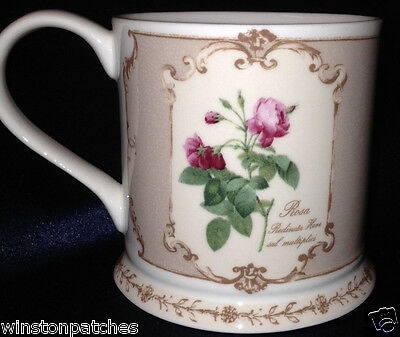 "Queen's Bone China Redoute's Roses Mug 3 1/4"" Rosa Gallica Versicolor Pink Band"