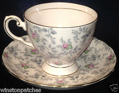 Royal Tuscan England 9296H Cup & Saucer 6 Oz Pink With Grey Leaves & Pink Roses