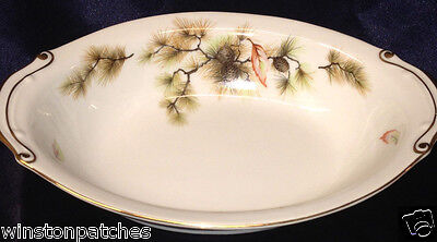 "Kyoto Japan Forest 10 1/8"" Oval Serving Bowl Pine Cones Autumn Leaves"