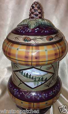 """Zrike Danna Cullen Vintage Cabin Large Canister & Lid 11 1/4"""" Woods Pine Cone"""