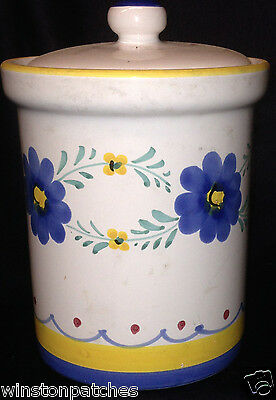 Williams Sonoma Tea Canister Blue & Yellow Flowers Green Leaves Red Dots Italy
