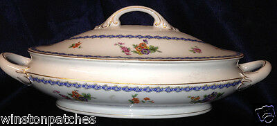 Rosenthal Continental R2104 Modell Oval Covered Serving Bowl Blue Edge Floral