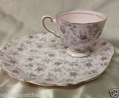 Royal Tuscan Rosalie Snack Plate & Cup Gray Leaves Pink Rose Buds Gold Chintz