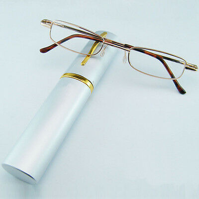 Hot 1.00-4.00 With Tube Case Men women the same paragraph Metal Reading Glasses