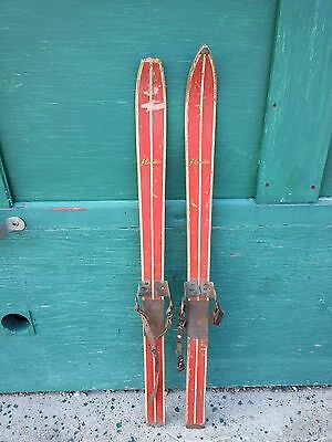 """VINTAGE Set 41"""" Long Wooden Skis with RED Finish with Metal Bindings"""