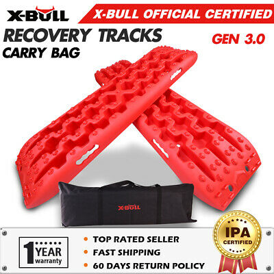 X-BULL Recovery tracks Sand Track Red Pair 10T Black Car Accessories 4x4 4WD