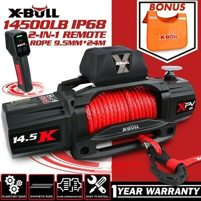 X-BULL 12V 13000LBS Electric Winch 26M Synthetic Rope Wireless Remote 4WD 4x4