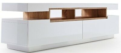 Modern TV Stand Cabinet Unit Furniture - Gloss White, Wood Shelves, Low-Line