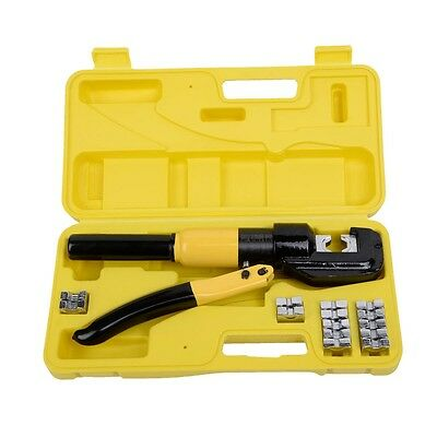 Hot 8 Ton Hydraulic Wire Terminal Crimper Battery Cable Lug Crimping Tool w/Dies