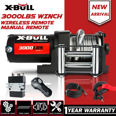 X-BULL 12V 3000LBS/1360kg Electric Winch Wireless Steel Cable 2 REMOTES ATV 4WD