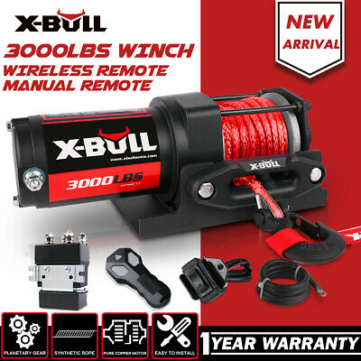 X-BULL 3000LBS /1361KGS Electric Winch 12V Wireless ATV 4WD Synthetic Rope 10M