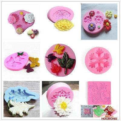 Flower Leaf Silicone Fondant Paste Mold Cake Decor DIY Resin Jewelry Craft Molds