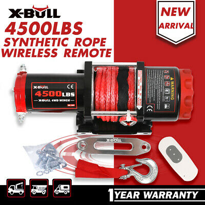 X-BULL Electric Winch Synth 12V Wireless 4500LB  Synthetic Rope 2 Remote ATV 4WD