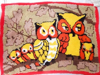 Vintage 70's Owl Family Latch Hook Rug