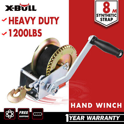 X-BULL Hand Winch  1200LB/544KG  2-ways Synthetic Strap 4WD Manual Car Boat