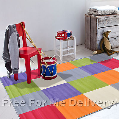 KIDS JUNCTION SQUARES COLOURFUL FUNKY FLOOR RUG (M) 160x225cm **FREE DELIVERY**