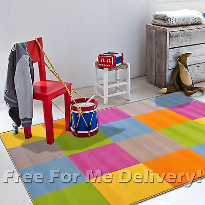 KIDS JUNCTION SQUARES COLOURFUL FUNKY FLOOR RUG (S) 120x170cm **FREE DELIVERY**