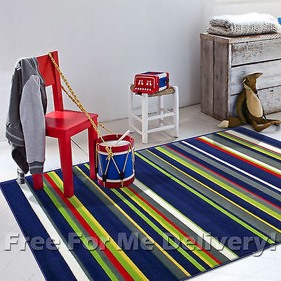 KIDS JUNCTION STRIPES COLOURFUL FUNKY FLOOR RUG (M) 160x225cm **FREE DELIVERY**