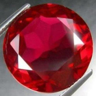 AAA Rated Handcut Bright Red Lab Created Ruby Round Faceted Gemstone 3mm to 20mm