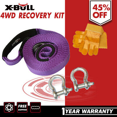 X-BULL Deluxe Recovery Kit Snatch Strap Gloves Bow Shackle 5PCS 4WD/4X4