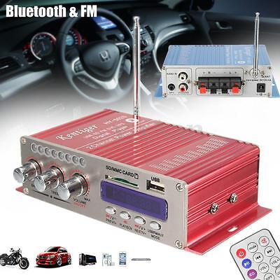 2CH 100W Bluetooth Hi-Fi Stéréo Amplificateur FM Audio USB Voiture Ampli Antenne