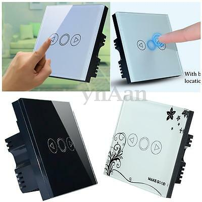 EU/UK Standard Tempered Glass Touch Dimmer Switch LED Panel Wall Mount Switch