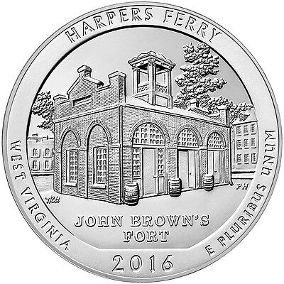 2016 25c 5 Troy Oz Silver ATB America the Beautiful- Harpers Ferry Coin SKU41212