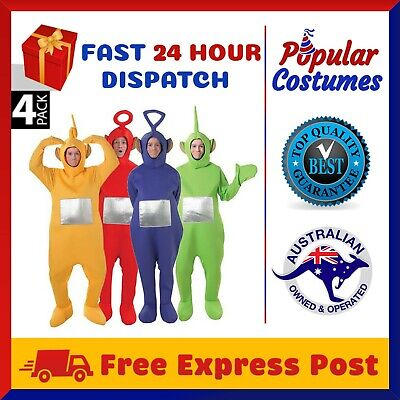 4 Pack Teletubbies Mens Womens Jumpsuit Fancy Dress Up Outfit Halloween Costume