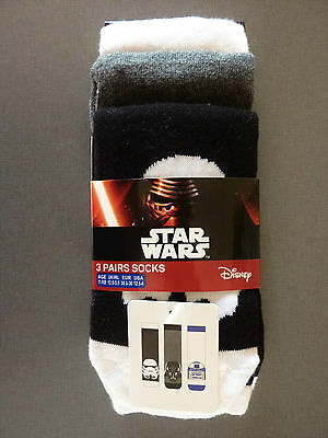 Neu Star Wars 3 Paar Socken Darth Vader R2-D2 Disney 23-26 Force Awakens Primark