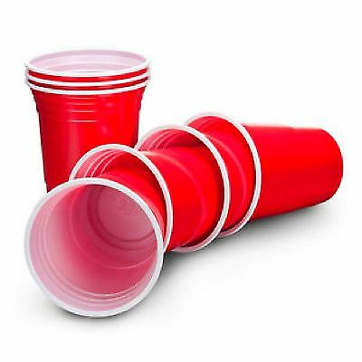 Amercian 16oz Plastic Red Party Cups (Beer Pong) - Disposable 25/50/100/1000