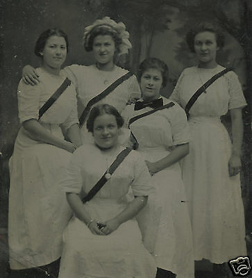 Victorian Antique High School Girls White Matching Dresses Ribbon Tintype Photo