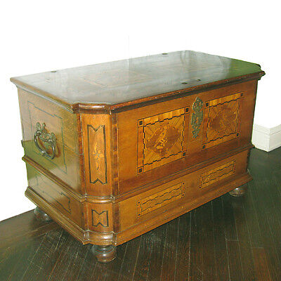 Antique Dowry Blanket Chest 18th C German Marquetry
