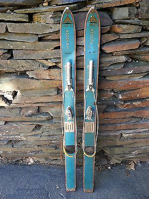 """VINTAGE Wooden 47"""" Skis with Bindings Has Light Blue Finish WERNER STANDARD"""