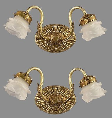 Brass & Etched Glass Vanity Sconces c1950 Vintage Antique TWO PAIR AVAILABLE