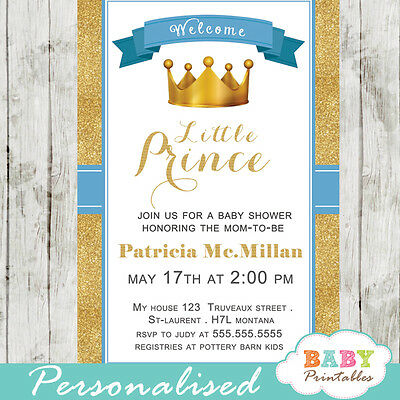 Blue and Gold Little Prince Baby Shower Invitations - Printable Digital File