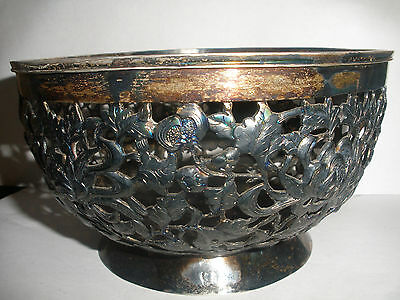Antique China Silver Open Work Flowers Bowl Signed