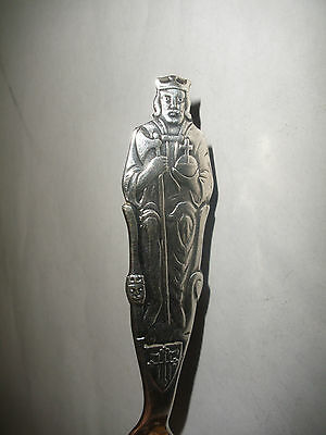 ANTIQUE NORWAY SILVER 830 SPOON Norwegian 1030-1930 St Olaf statue figural