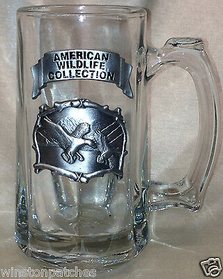 American Wildlife Collection 12 Oz Glass Mug Tankard Pewter Applique Flying Duck