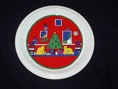 "Houze 1985 Round 10"" Plate Center Hole Yellow Dog Cat Christmas Tree Cake Stand"