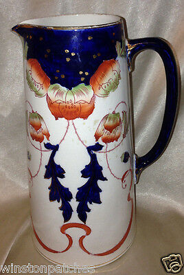 "Burleigh Burgess Leigh England Sandon Pitcher 8 1/8"" 3577 - P Flow Blue"