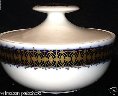 Heritage Bavaria Germany Arabesque Sugar Bowl & Lid 8 Oz Gold & Cobalt Band