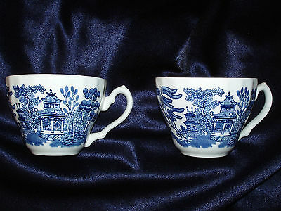2 Churchill Blue Willow Cups Only Swirled Outside Made In England Tulip Shaped